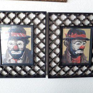 Custom framed VINTAGE paint by number clowns, pair